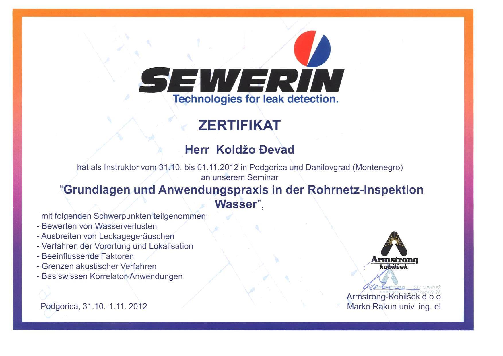SEWERIN Certificat german