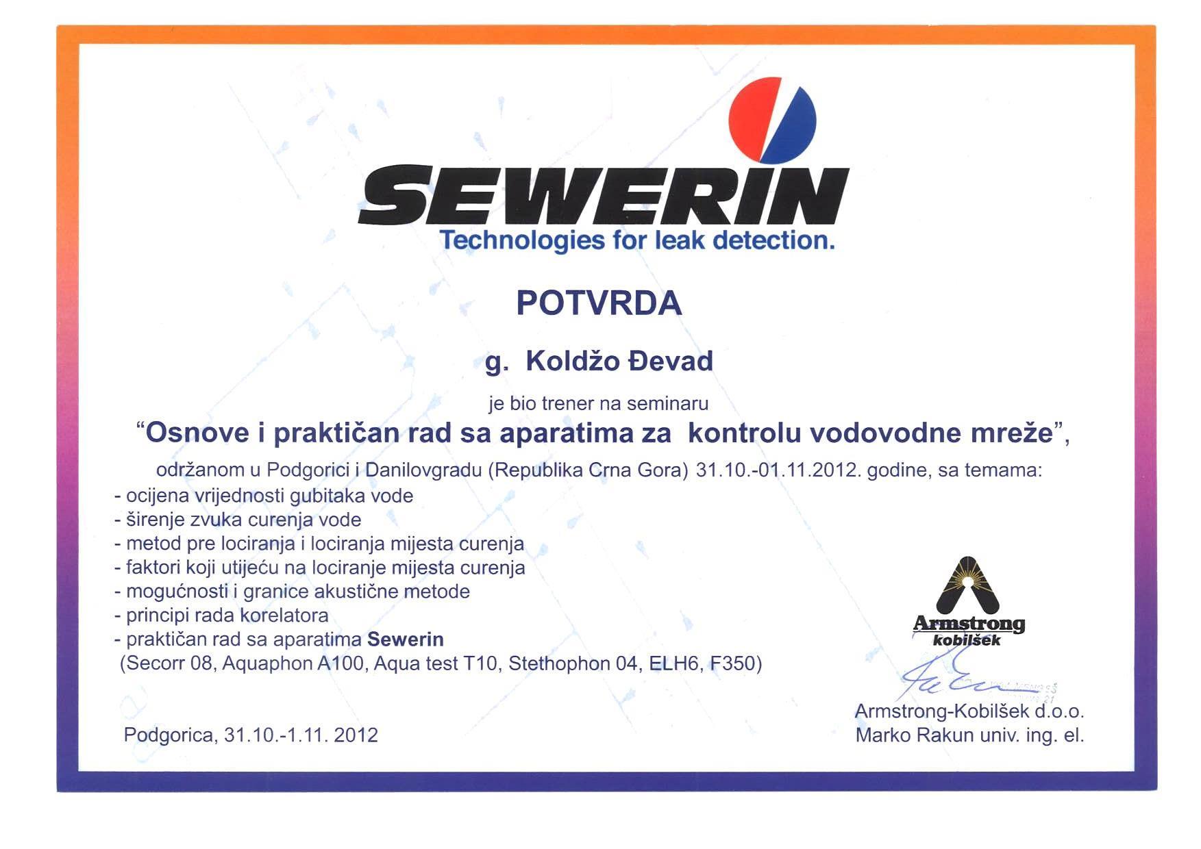 SEWERIN Cetrtificat bosnian